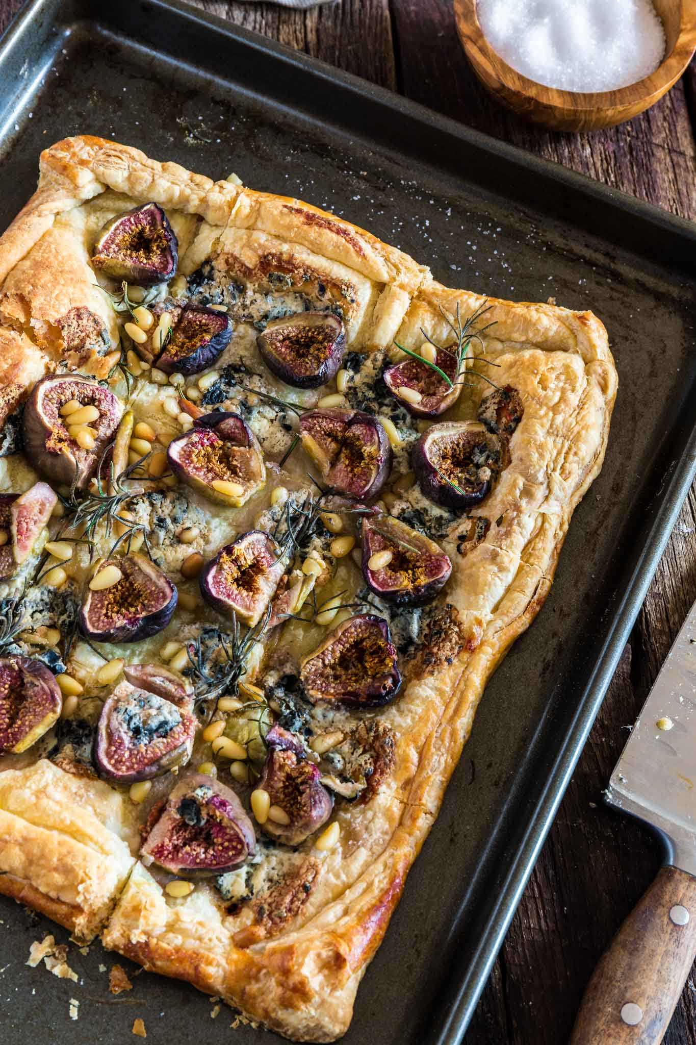 Blue Cheese Fig Tart | www.oliviascuisine.com | A delicious savory and sweet tart, made with blue cheese, fresh figs, rosemary, pine nuts, sea salt and a touch of honey. Serve it for brunch, as an appetizer and/or as a snack and be ready for your tastebuds to start dancing the can-can!