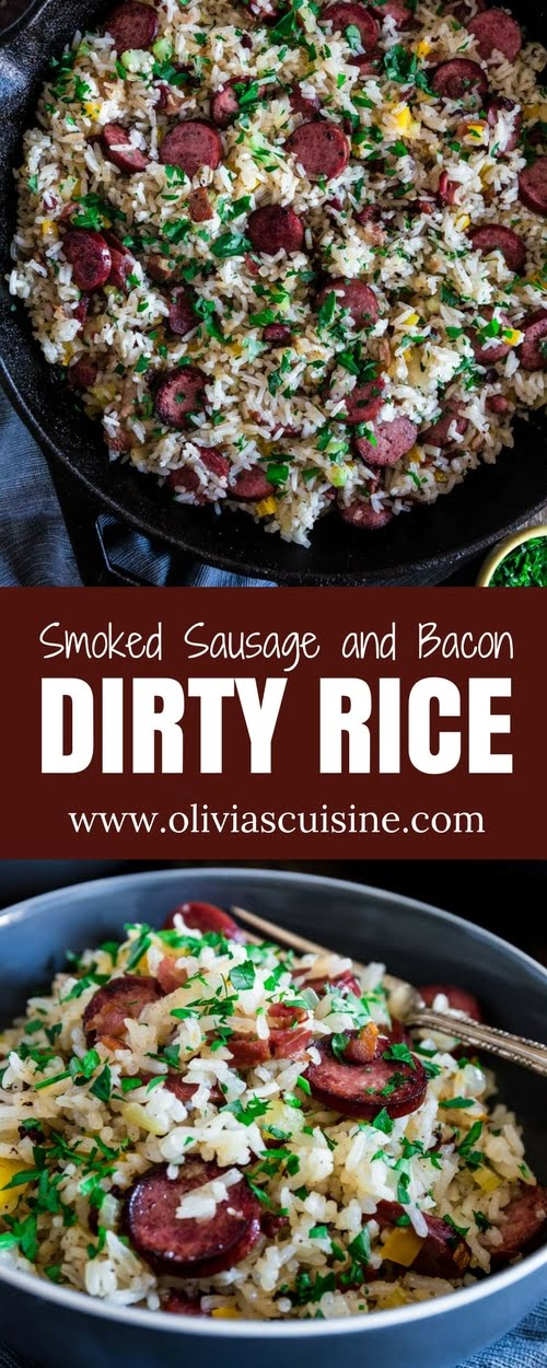 Dirty Rice with Smoked Sausage and Bacon | www.oliviascuisine.com | This spin on the classic Cajun/Creole Dirty Rice is made with bacon and smoked sausage instead of the traditional chicken liver. Easy, hearty and perfect as a weeknight meal or as a side dish for a special occasion, like Thanksgiving! (Recipe and Food Photography by @oliviascuisine.)