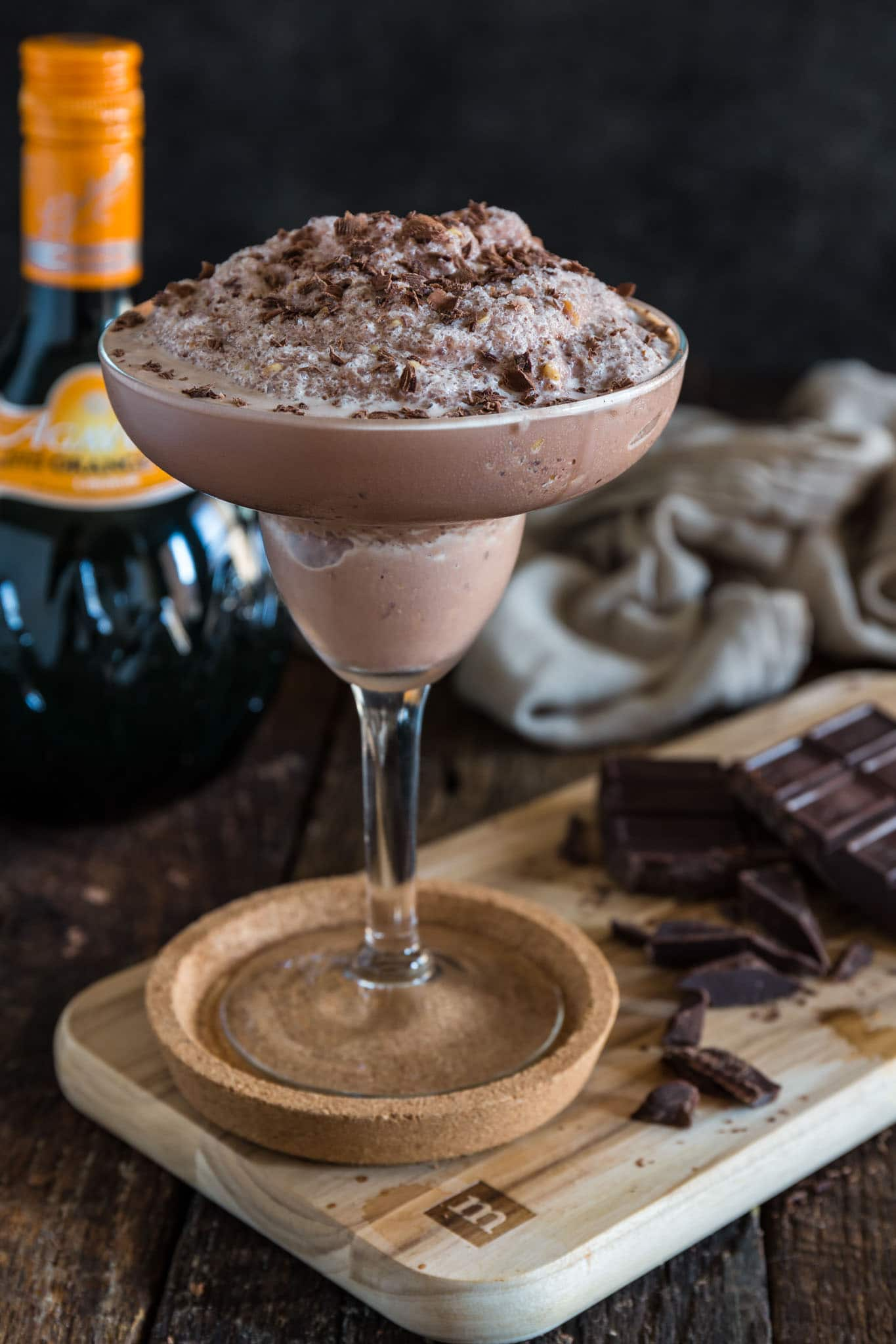 Frozen Chocolate Margarita | www.oliviascuisine.com | What's better than a frozen Margarita? A CHOCOLATE Margarita, of course! Made with chocolate ice cream, tequila and Agavero orange liqueur. (Recipe and food photography by @oliviascuisine.)