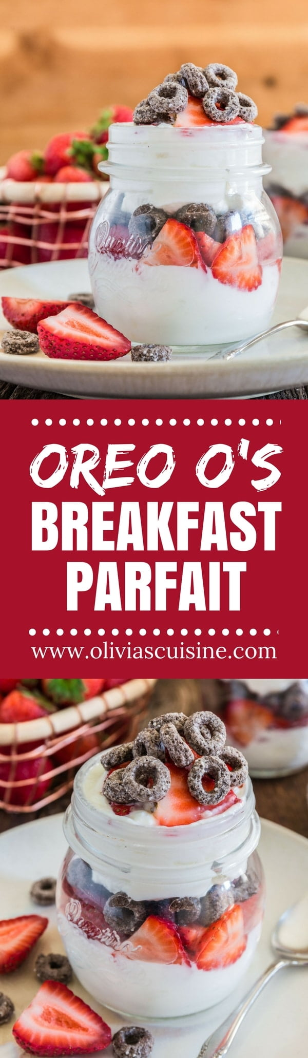Oreo O's Breakfast Parfait | www.oliviascuisine.com | Tired of the same old, boring breakfast? These fun little parfaits are simple and oh so delicious, thanks to an old childhood favorite who is making a comeback! (Recipe and food photography by @oliviascuisine)