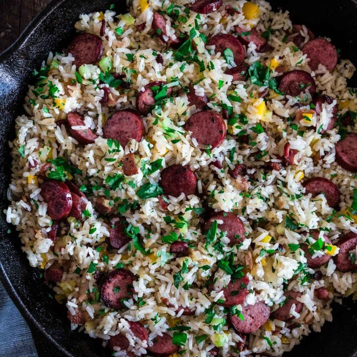 Dirty Rice with Smoked Sausage and Bacon