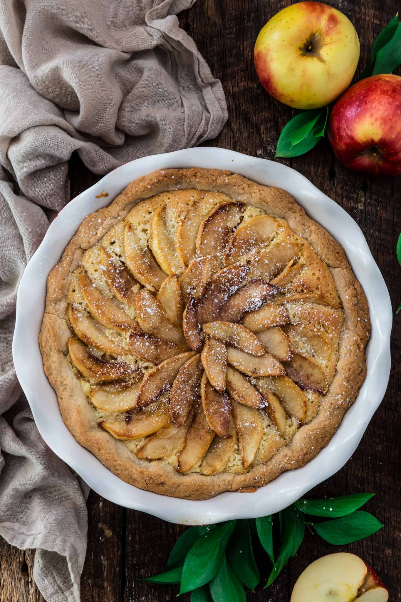 Almond Apple Pie | www.oliviascuisine.com | Inspired by the French Tarte Bourdaloue, this apple version consists of traditional almond cream topped with browned/caramelized apple slices. If you're tired of the old classic apple pie, give this a try. You won't regret it! (Recipe and food photography by @oliviascuisine.)