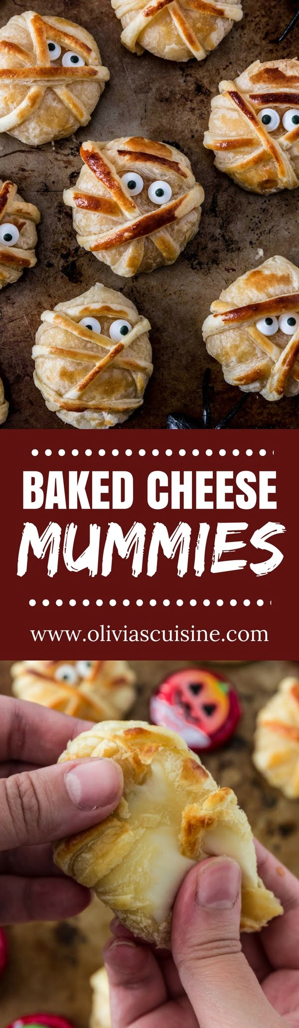 Baked Cheese Mummies | www.oliviascuisine.com | These fun puff pastry wrapped cheese mummies are not only cheesy-licious but very easy to make! They are sure to be the hit of your Halloween party! (Recipe and food photography by @oliviascuisine.)