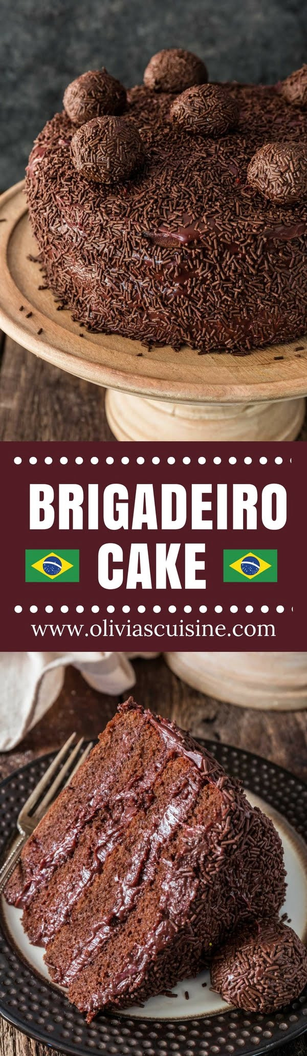 Brigadeiro Cake | www.oliviascuisine.com | Ask any Brazilian what is their favorite cake and you will always get the same answer: brigadeiro cake. Absolutely nothing compares to this rich, fudgy, moist chocolate cake! If you love brigadeiro, this is a must-try! (Recipe and food photography by @oliviascuisine.)