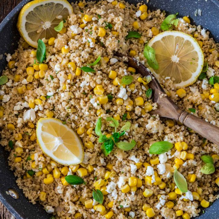 Corn Couscous with Basil, Feta and Lemon