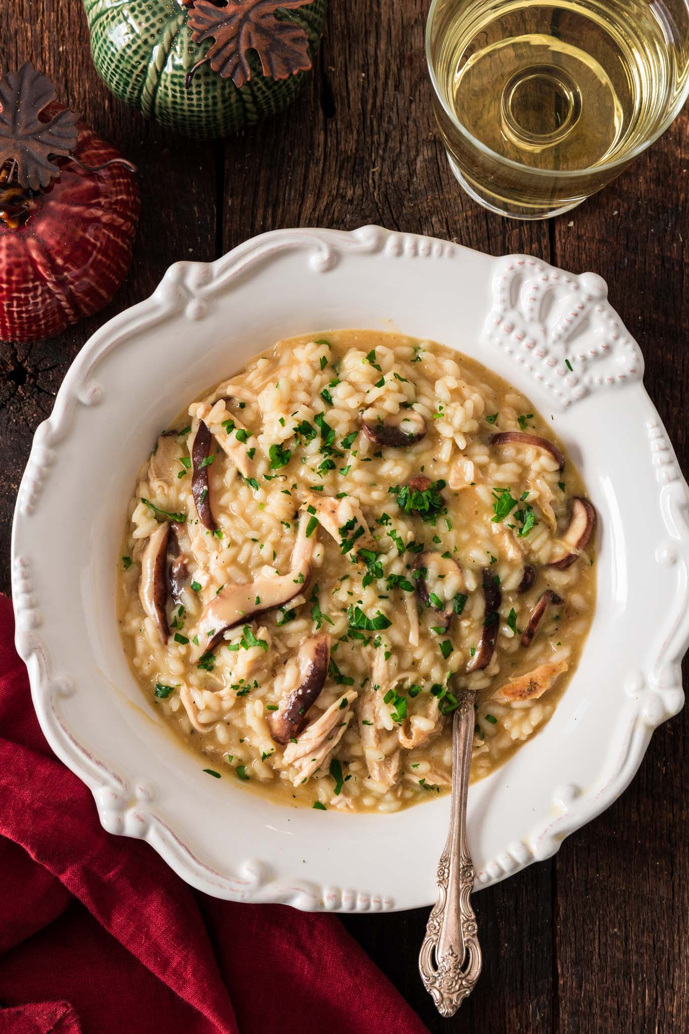 Mushroom and Turkey Risotto | www.oliviascuisine.com | Hosting an intimate, low key Thanksgiving/Friendsgiving? Ditch the whole bird for this elegant Mushroom and Turkey Risotto instead. Also great as a way to use day-after leftovers. (Recipe and food photography by @oliviascuisine.)