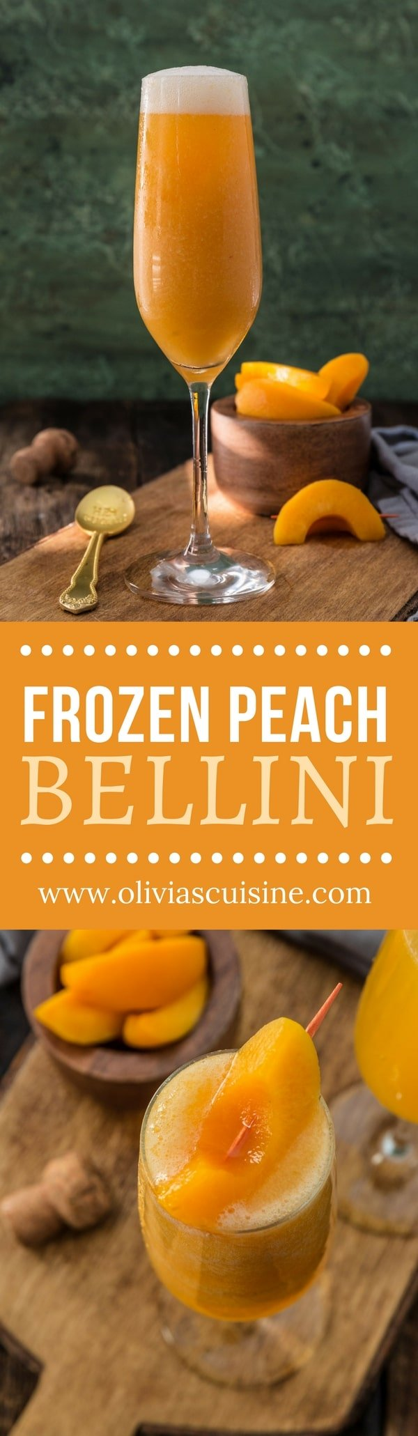 Frozen Peach Bellini | www.oliviascuisine.com | No need to wait until peach season! This Frozen Peach Bellini is made with frozen peaches and is just as delicious. Perfect to toast the New Year in grand style! (Recipe and food photography by @oliviascuisine.)