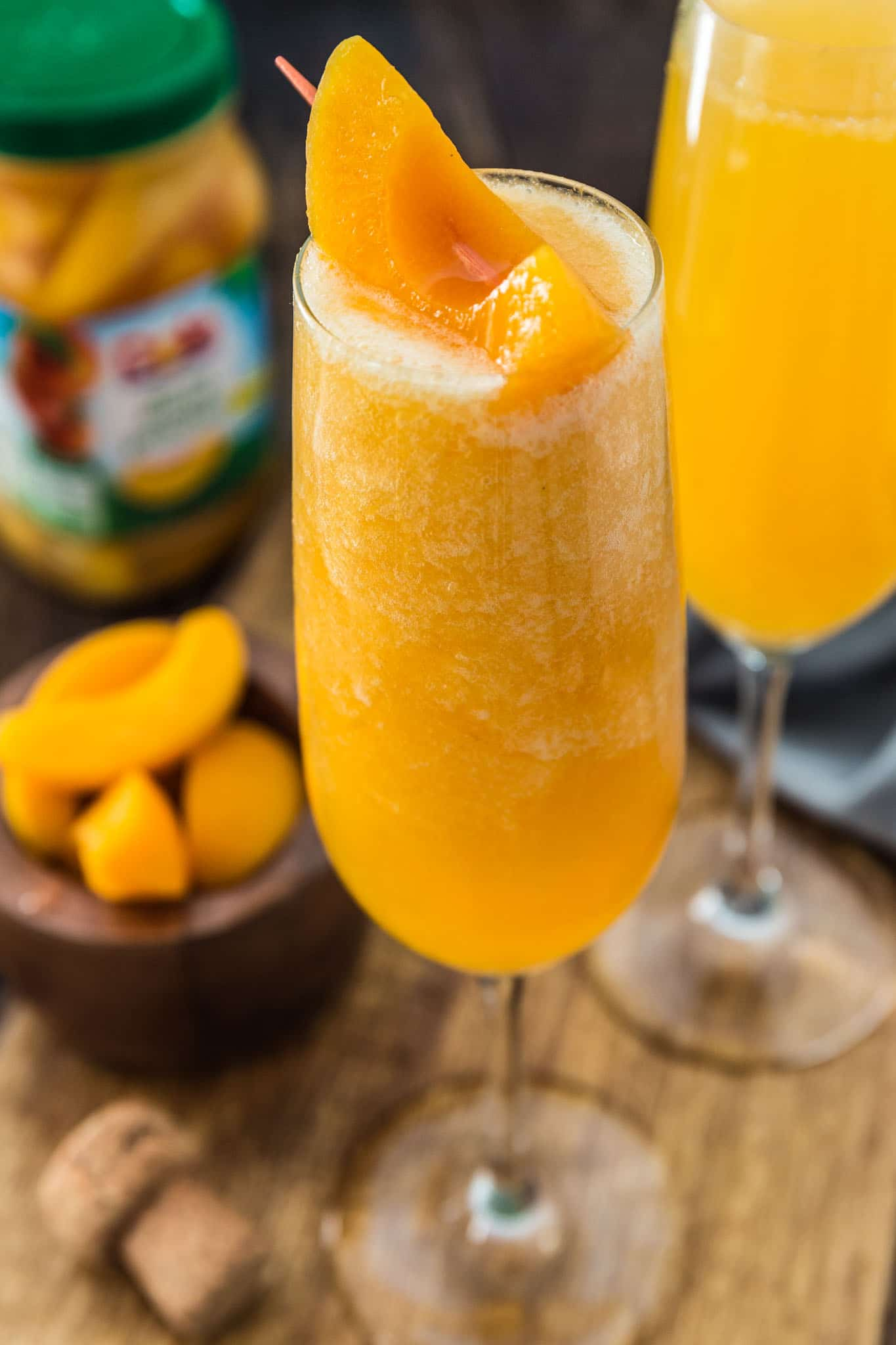 frozen bubbly peach cocktail