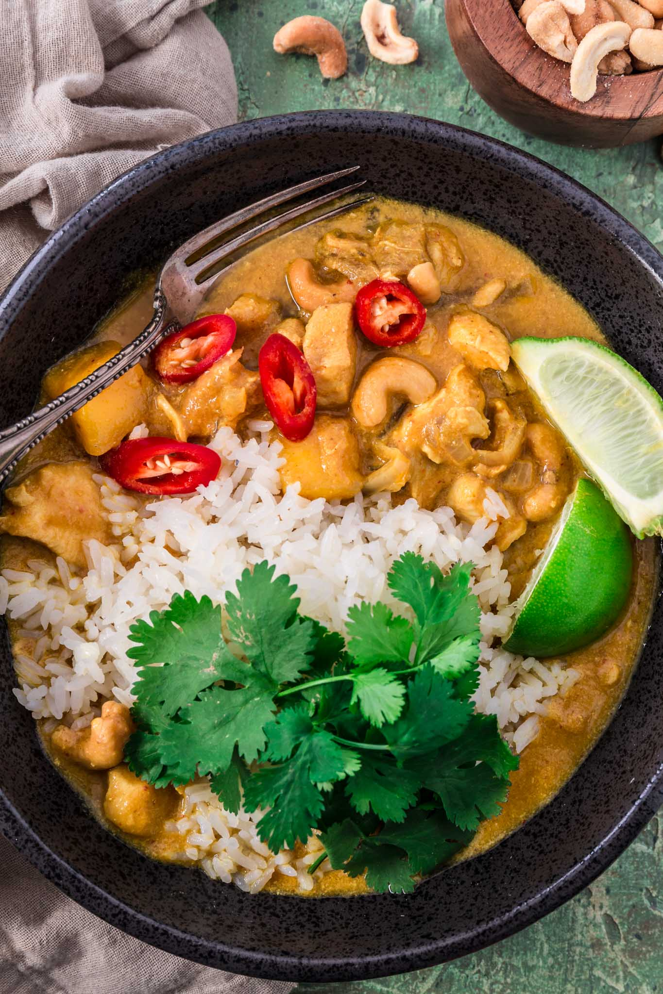 bowl of chicken mango curry