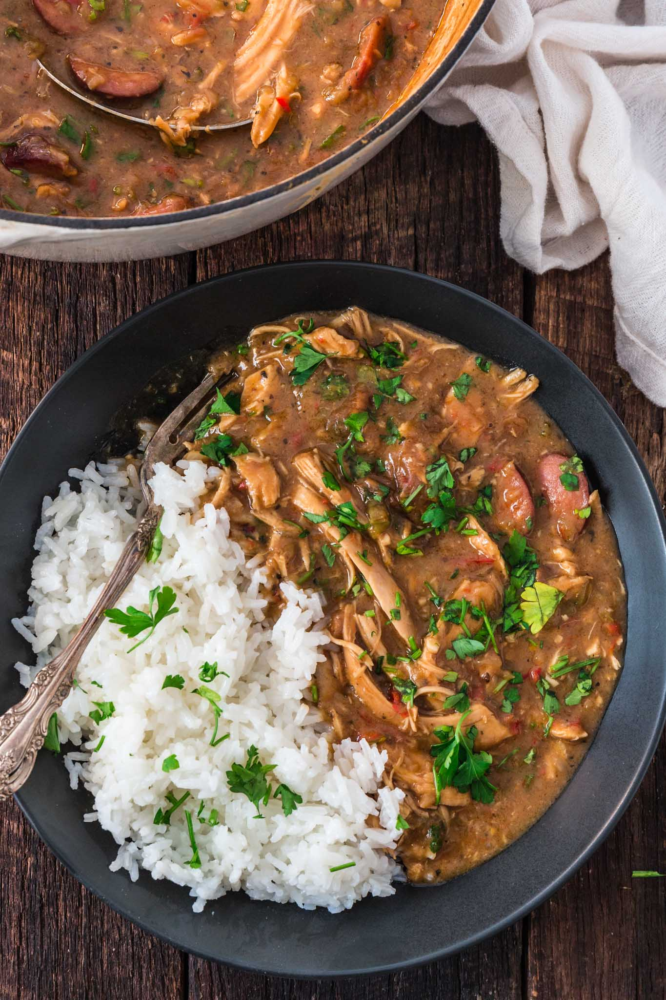 a bowl of comforting turkey and sausage gumbo