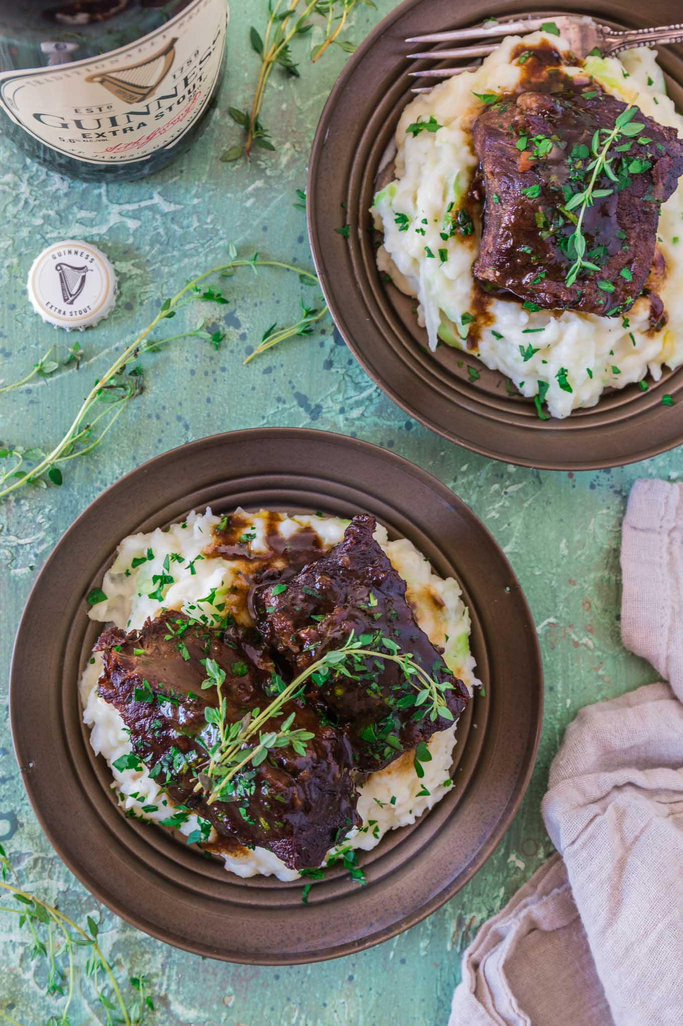 Stout Beer Braised Short Ribs | www.oliviascuisine.com | Celebrate St. Patrick's Day by cooking these Irish inspired Stout Beer Braised Short Ribs. Rich, hearty and incredibly fall-apart tender! Serve it over colcannon or with some Irish soda bread to soak up all that luscious beer gravy goodness. (Recipe and food photography by @oliviascuisine.)