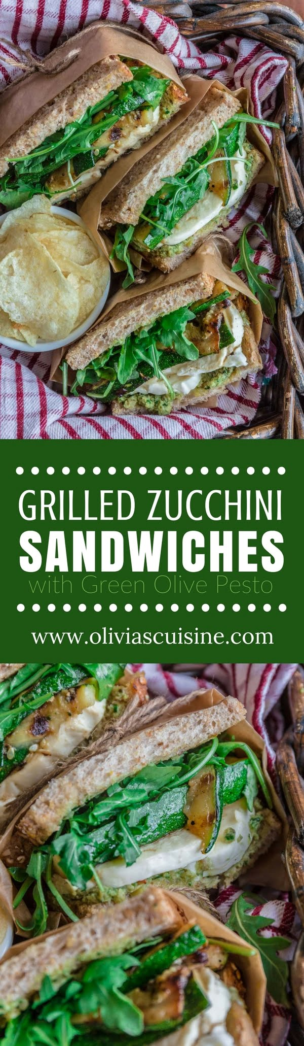 Grilled Zucchini Sandwich with Green Olive Pesto | www.oliviascuisine.com | This delicious Grilled Zucchini Sandwich will get you excited about picnic weather. Packed with a lot of flavor, thanks to a homemade green olive pesto, fresh mozzarella, arugula and, the star of the show, grilled zucchini. Lip smacking good and guilt-free? What more could you possibly ask for? (Recipe and food photography by @oliviascuisine)