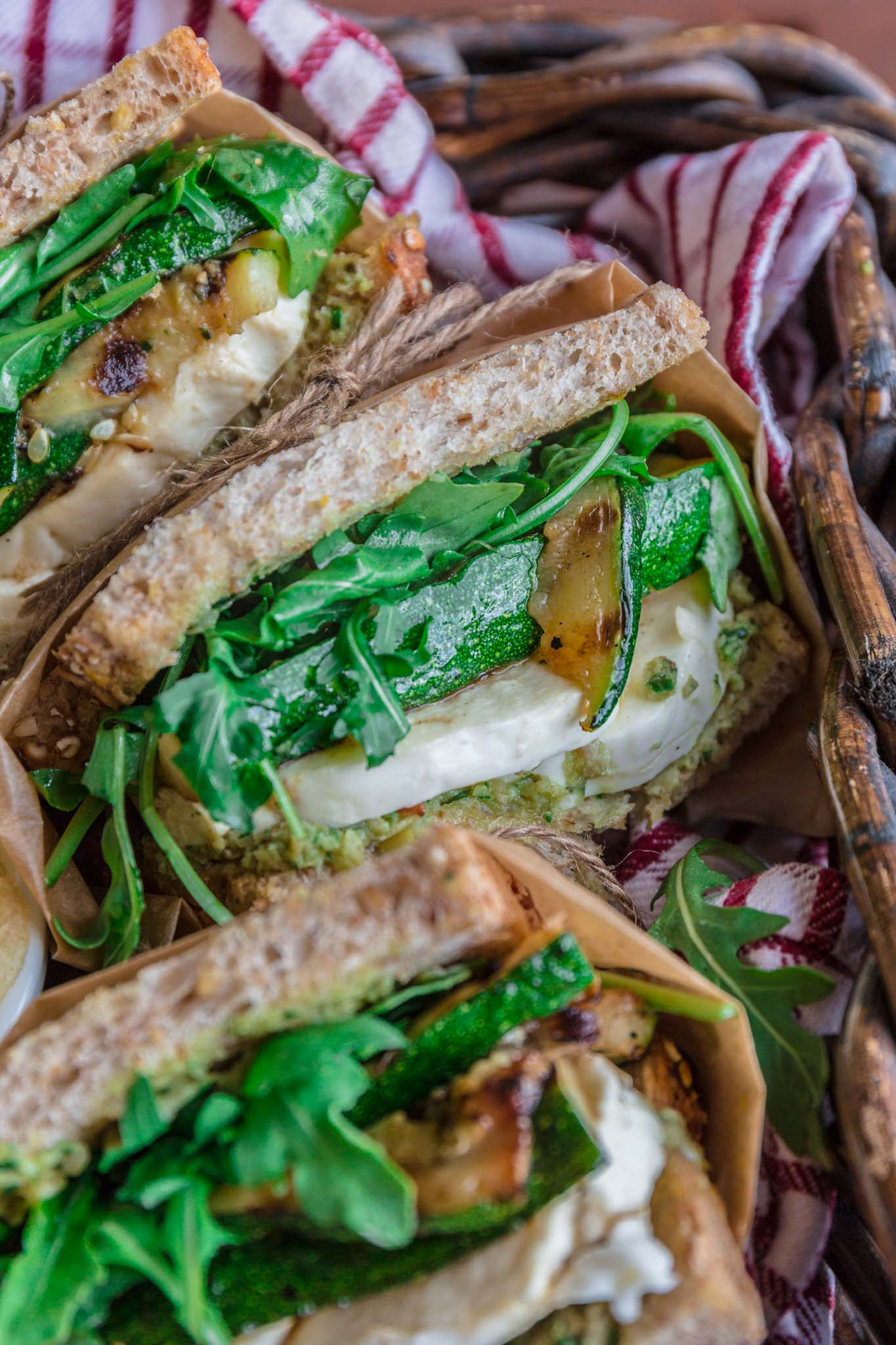 Grilled Zucchini Sandwich with Green Olive Pesto   www.oliviascuisine.com   This delicious Grilled Zucchini Sandwich will get you excited about picnic weather. Packed with a lot of flavor, thanks to a homemade green olive pesto, fresh mozzarella, arugula and, the star of the show, grilled zucchini. Lip smacking good and guilt-free? What more could you possibly ask for? (Recipe and food photography by @oliviascuisine)