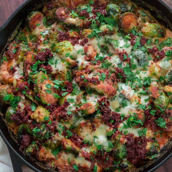 Cheesy Brussels Sprouts with Chorizo