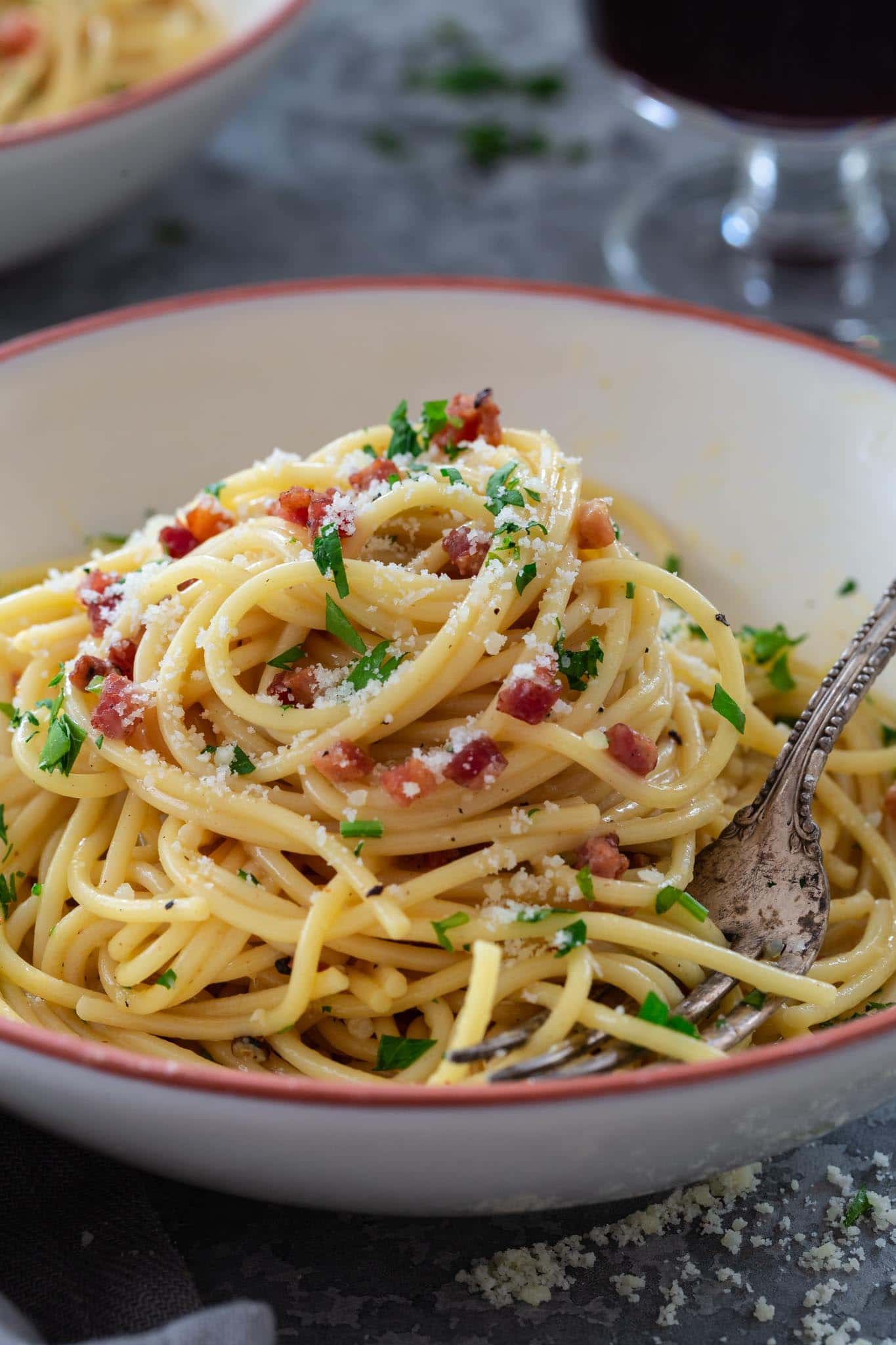 Close up spaghetti carbonara