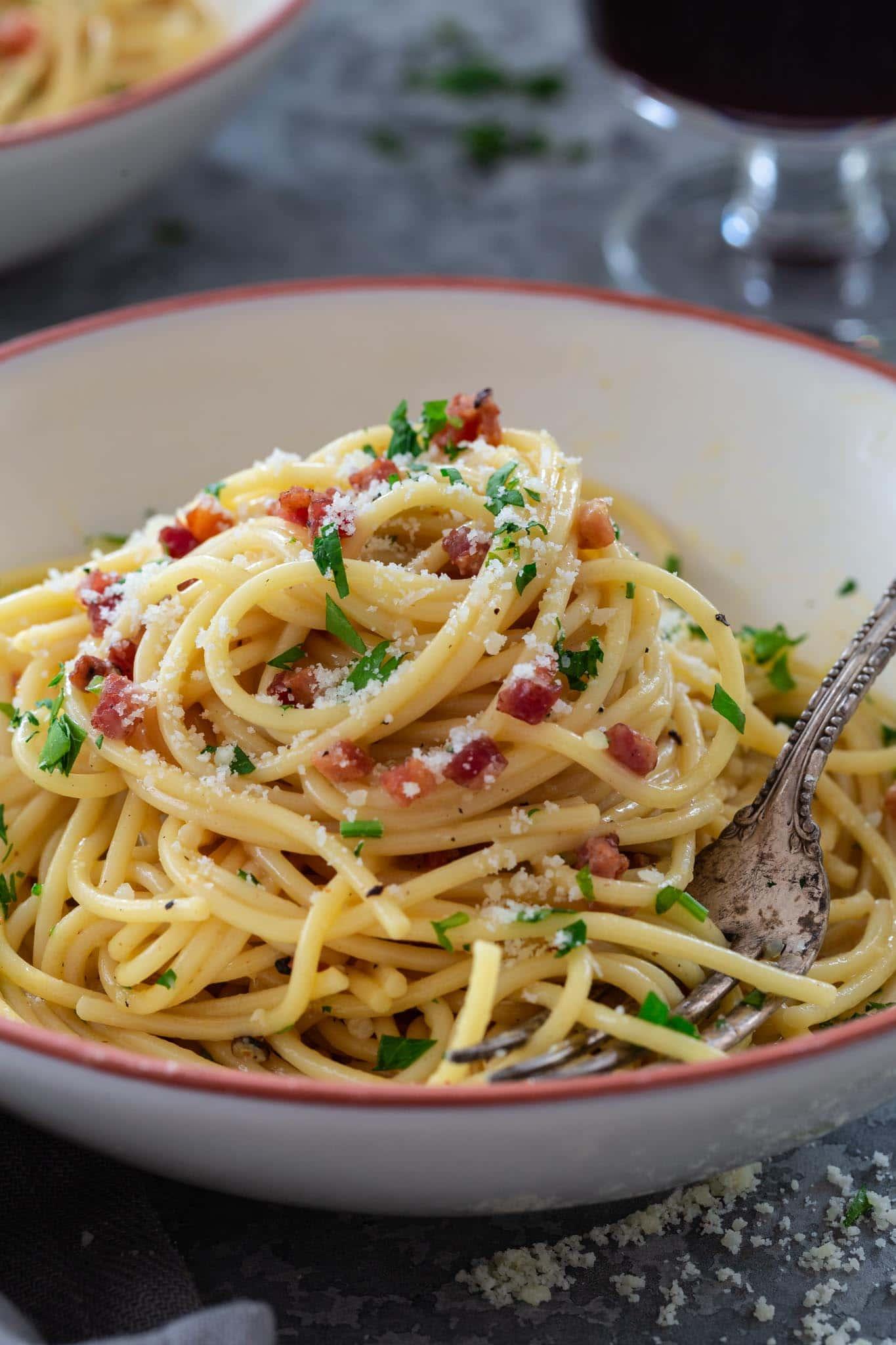 Close up spaghetti carbonara