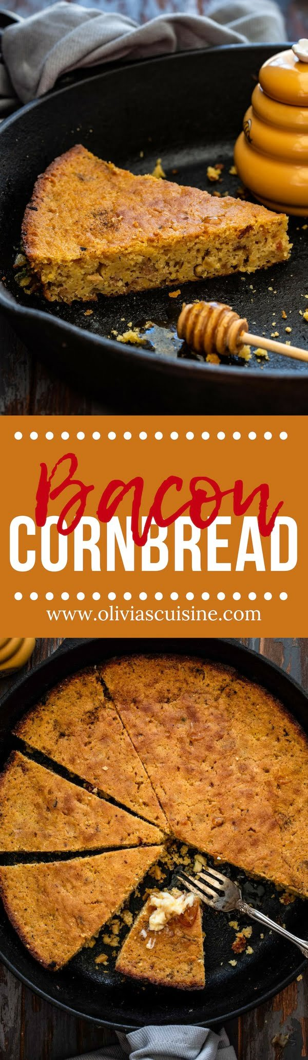 Brown Butter Bacon Cornbread | www.oliviascuisine.com | Easy and delicious, this Brown Butter Bacon Cornbread takes your cornbread game to a whole new level! Great as a side dish or by itself as a snack, topped with butter and drizzled with honey. (Recipe and food photography by @oliviascuisine). #cornbread #brownbutter #bacon