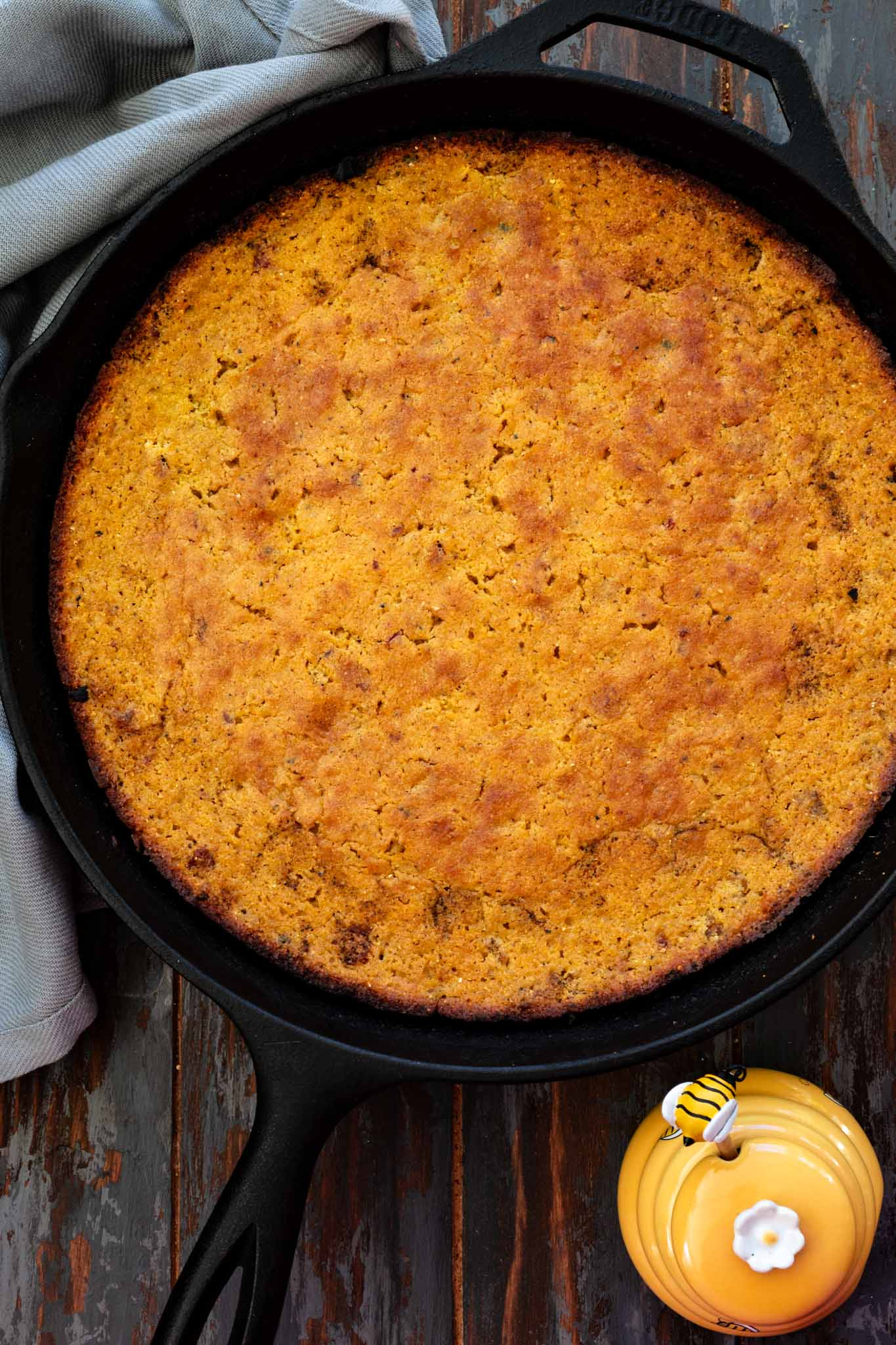 Cornbread made in a cast iron skillet