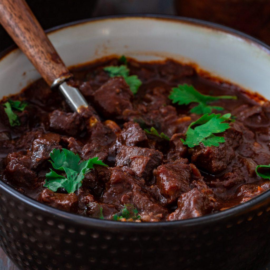 Hearty and cozy chocolate beef chili