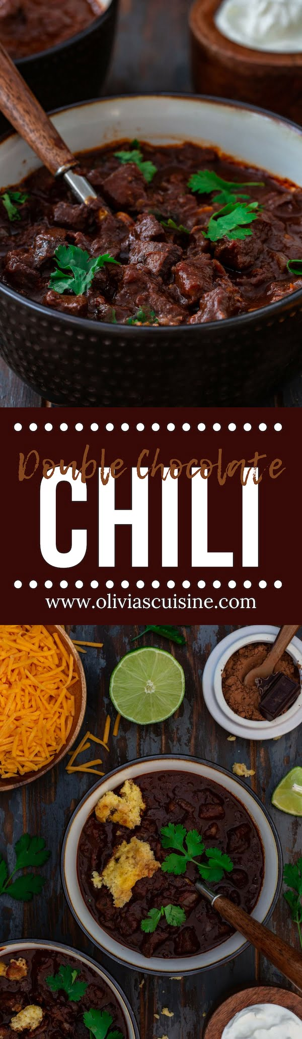 Double Chocolate Chili | www.oliviascuisine.com | If you've never tried Chocolate Chili, you are in for a treat! This is the richest chili I have ever tasted. The chocolate adds a deep and slightly sweet flavor that counterbalances the heat from the chili powders. It's a must try and a great way to feed a football crowd! (Recipe and food photography by @oliviascuisine). #superbowl #gameday #chili #chocolate