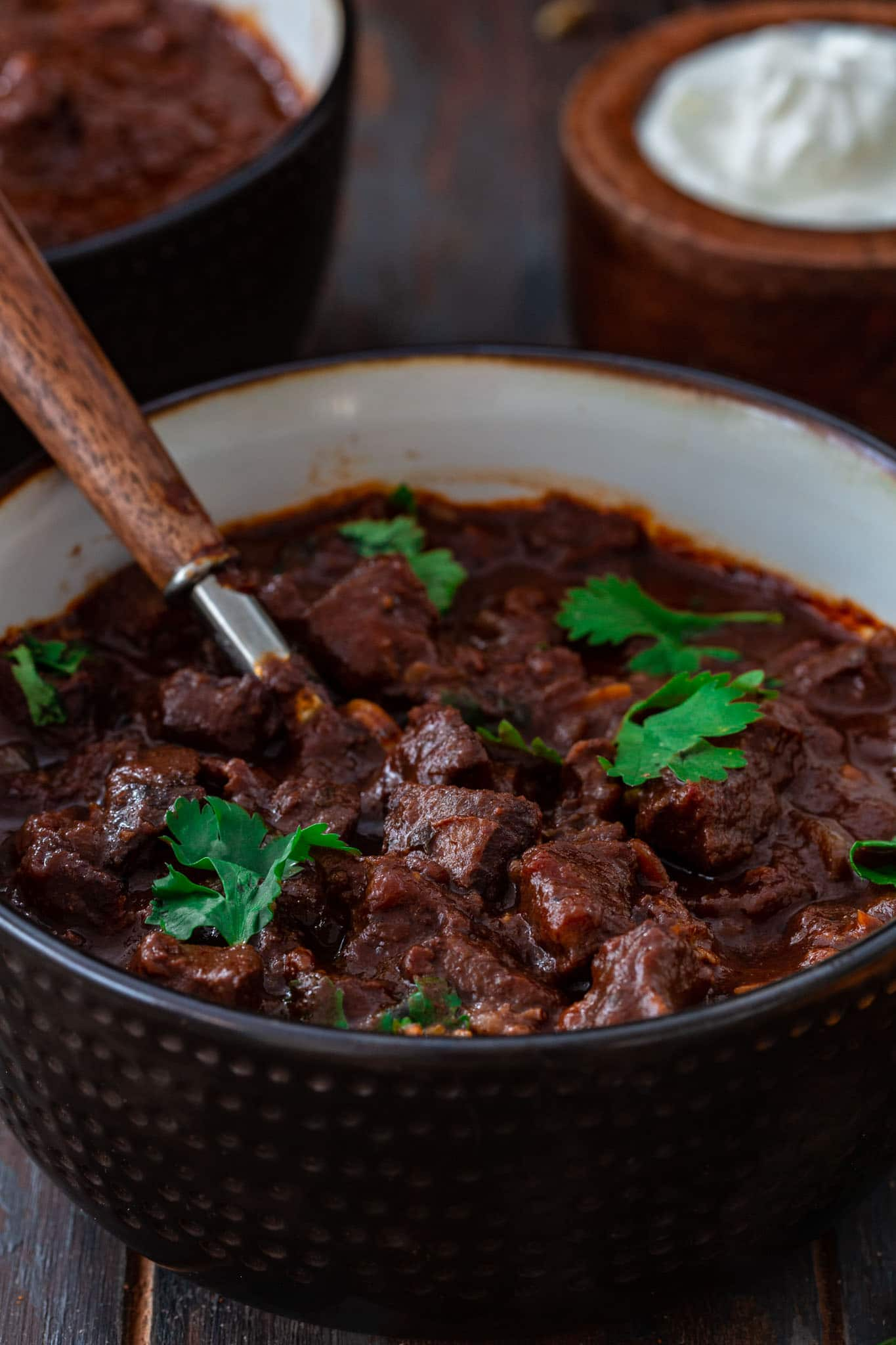 Rich and hearty Texas style chili made with chocolate