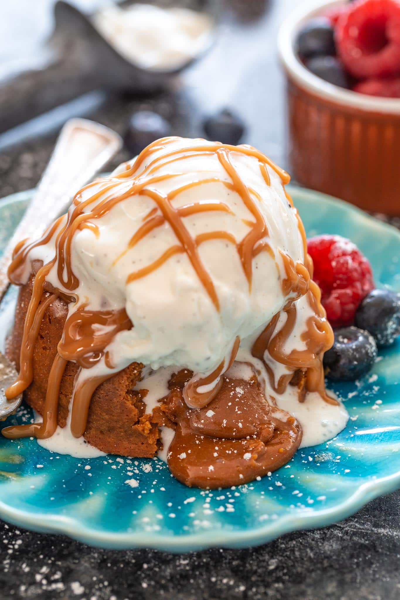 Dulce de Leche Molten Cake topped with vanilla ice cream