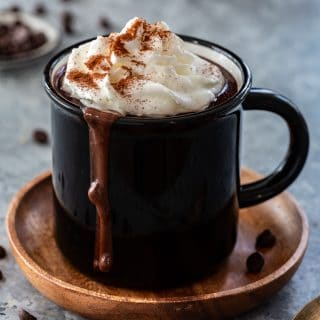 low carb hot chocolate topped with whipped cream