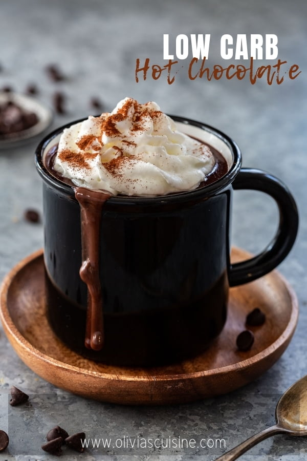 hot chocolate made with sugar free chocolate and almond milk