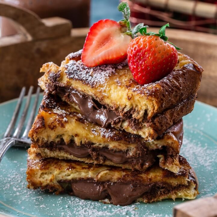 A closeup of Nutella French toast.