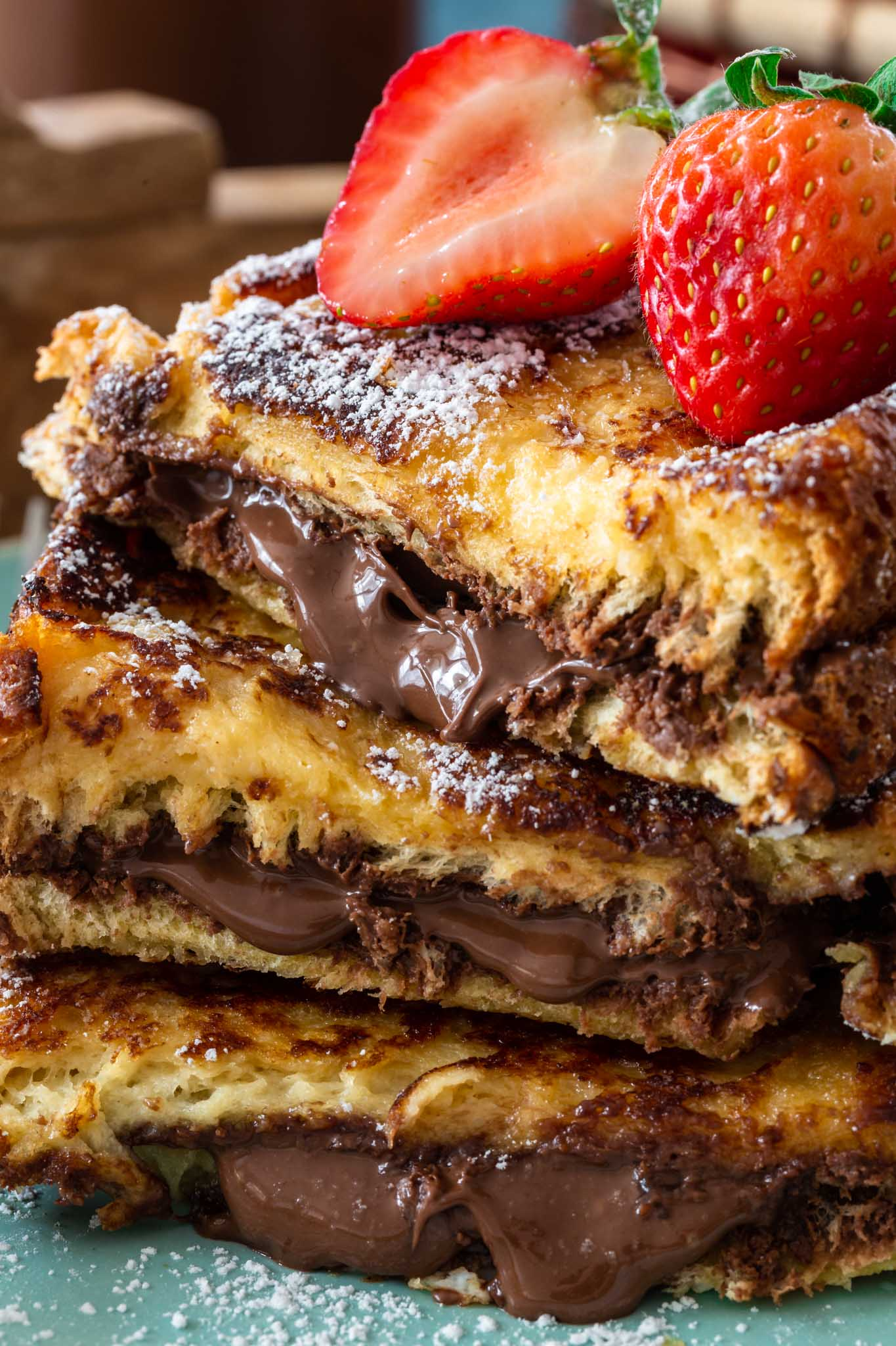 Close up Nutella Stuffed French Toast