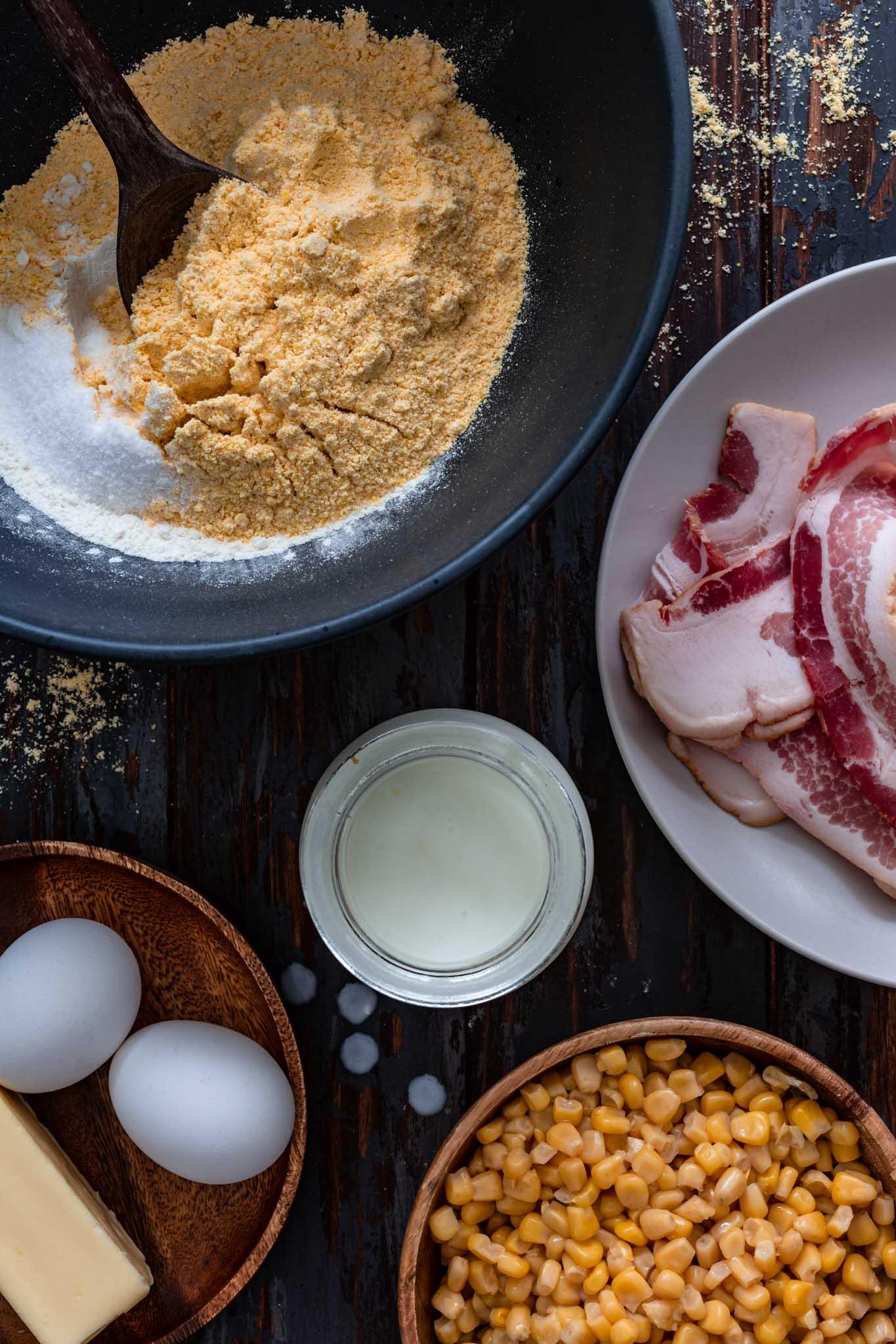 Ingredients to make cornbread