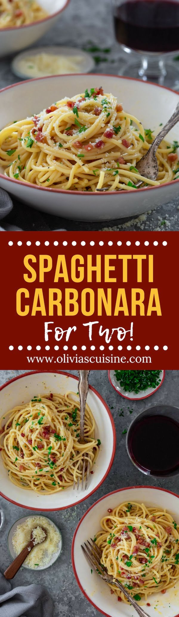 Spaghetti alla Carbonara (for Two!) | www.oliviascuisine.com | Italian Spaghetti alla Carbonara is a pasta dish that everybody should know how to make at home! Follow my tips and you'll only need a few staple ingredients to make the easiest, creamiest, cheesiest Carbonara of your life. No cream necessary! (Recipe and food photography by @oliviascuisine.) #pasta #spaghetti #carbonara #spaghetticarbonara