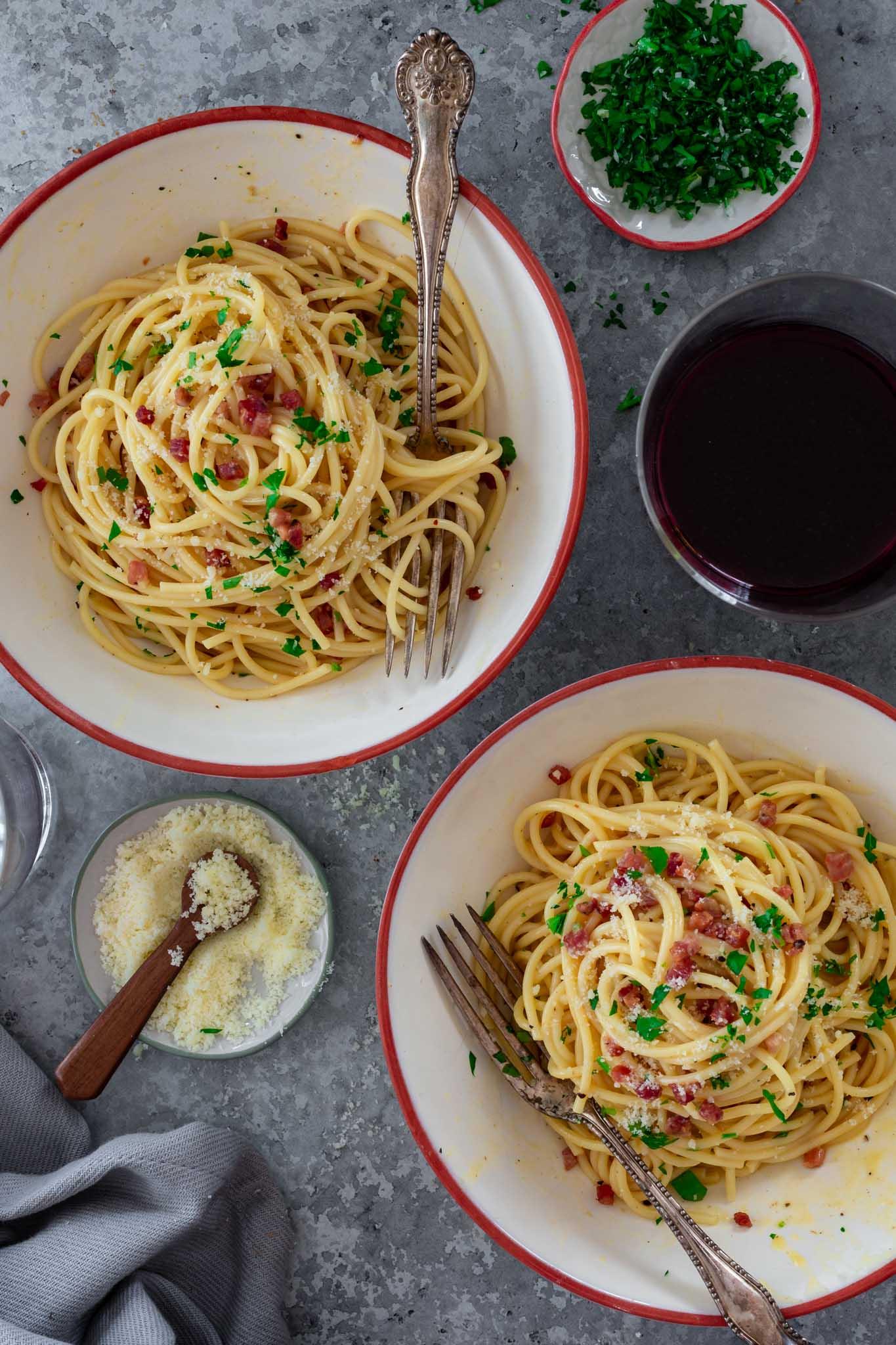 Two servings of Spaghetti Carbonara