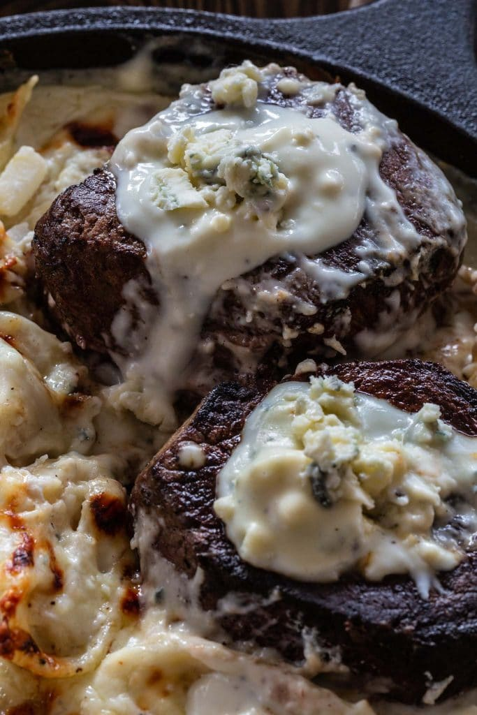 Tenderloin steaks with blue cheese sauce!