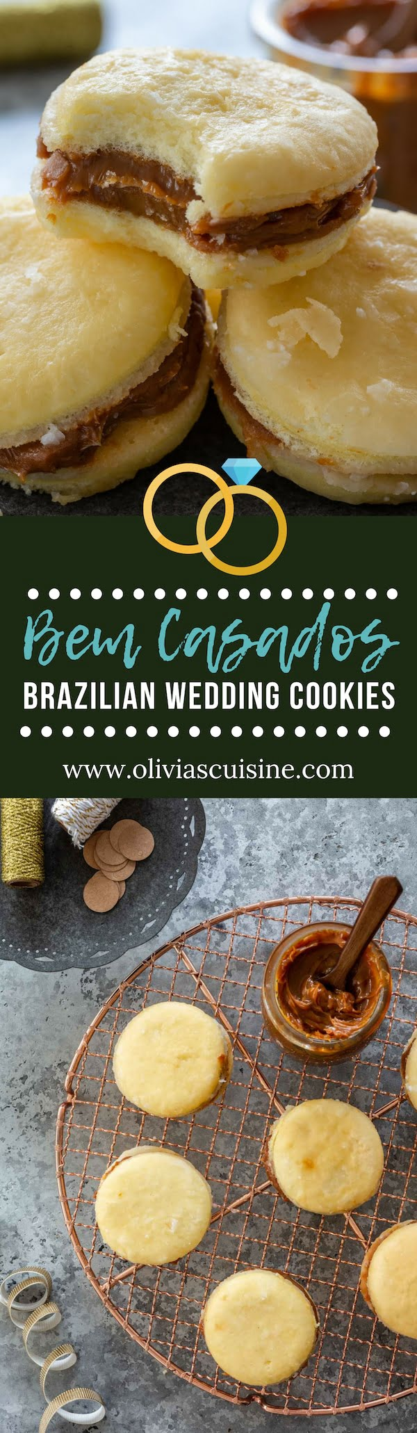 Bem Casados (Brazilian Wedding Cookies) | www.oliviascuisine.com | Bem Casados are traditional Brazilian treats – consisting of dulce de leche sandwiched between two small discs of sponge cake – that are served at weddings, bridal and baby showers, and other special occasions. It is impossible to resist them! (Recipe and food photography by @oliviascuisine). #cookies #brazilian #wedding #dulcedeleche