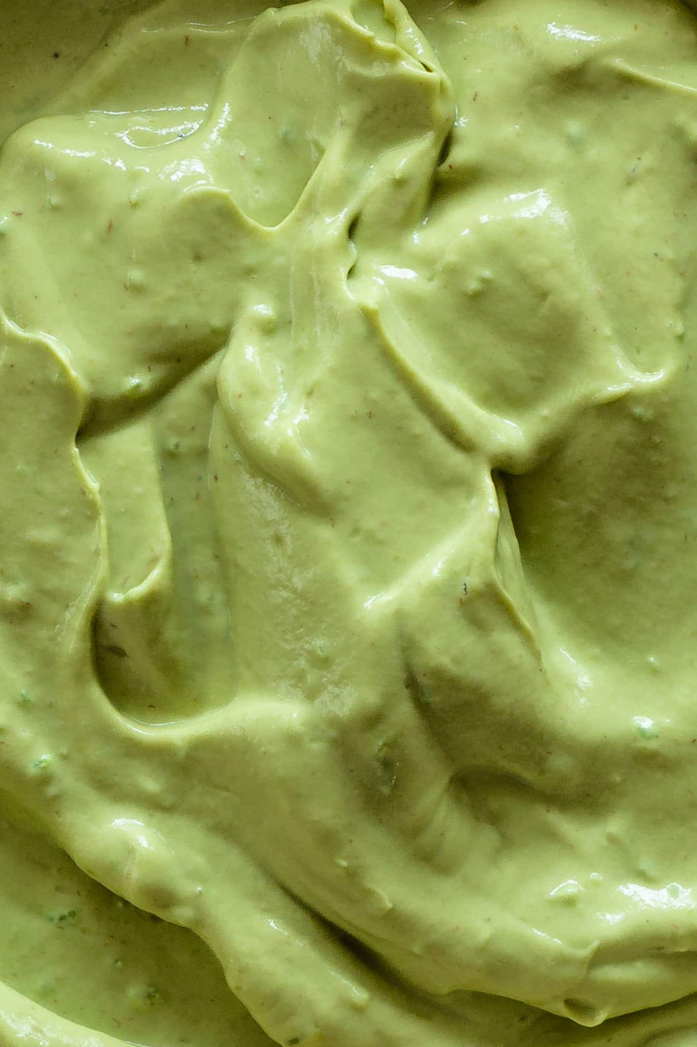 A close up of creamy whipped avocado.