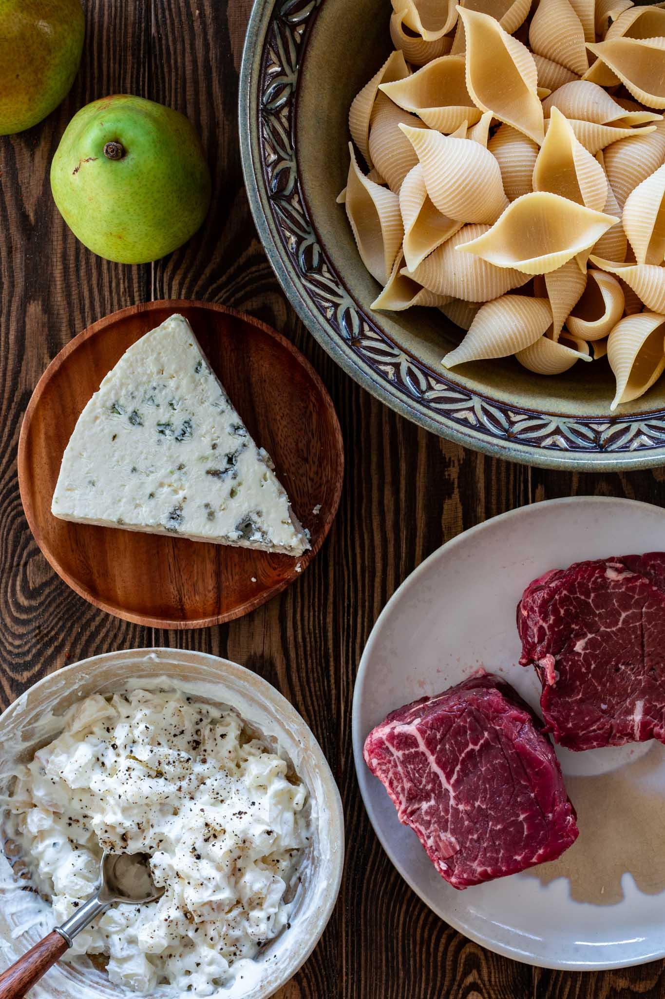 Ingredients to make Pan Seared filet mignon with conchiglioni gratin.