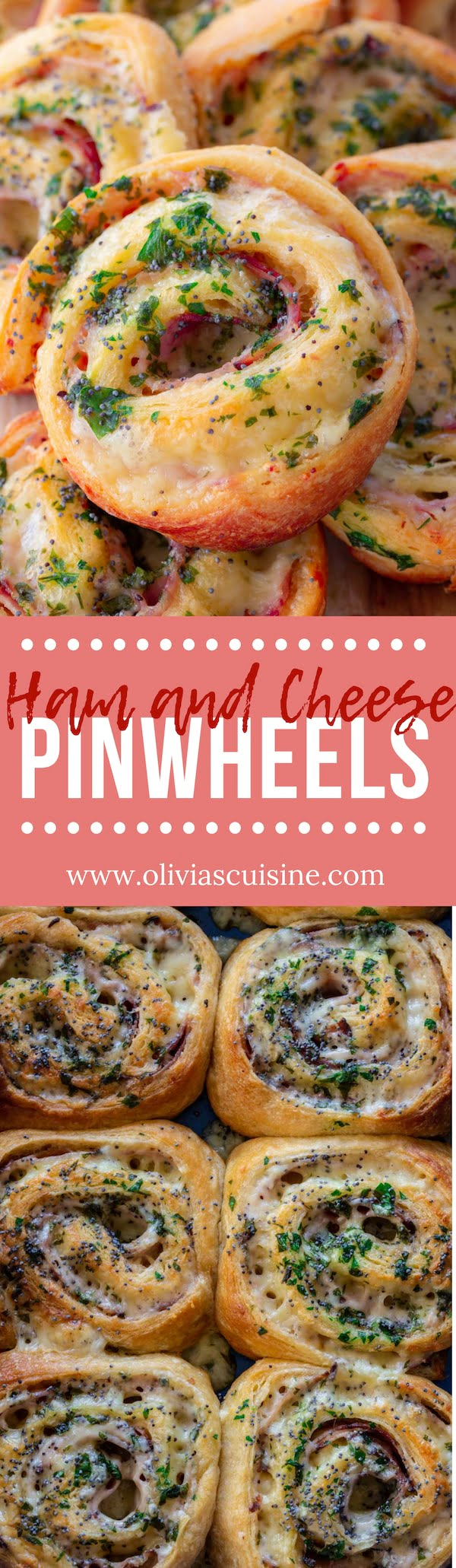 Baked Ham and Cheese Pinwheels | www.oliviascuisine.com | These Baked Ham and Cheese Pinwheels are the ultimate last-minute party snacks! Made with store-bought crescent dough and loaded with Dijon mayo, Black Forest ham and Gouda cheese. (Recipe and food photography by @oliviascuisine). #pinwheels #crescentdough #cheese #ham #snacks