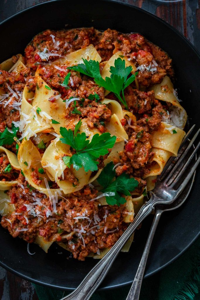 A plate of pappardelle all bolognese