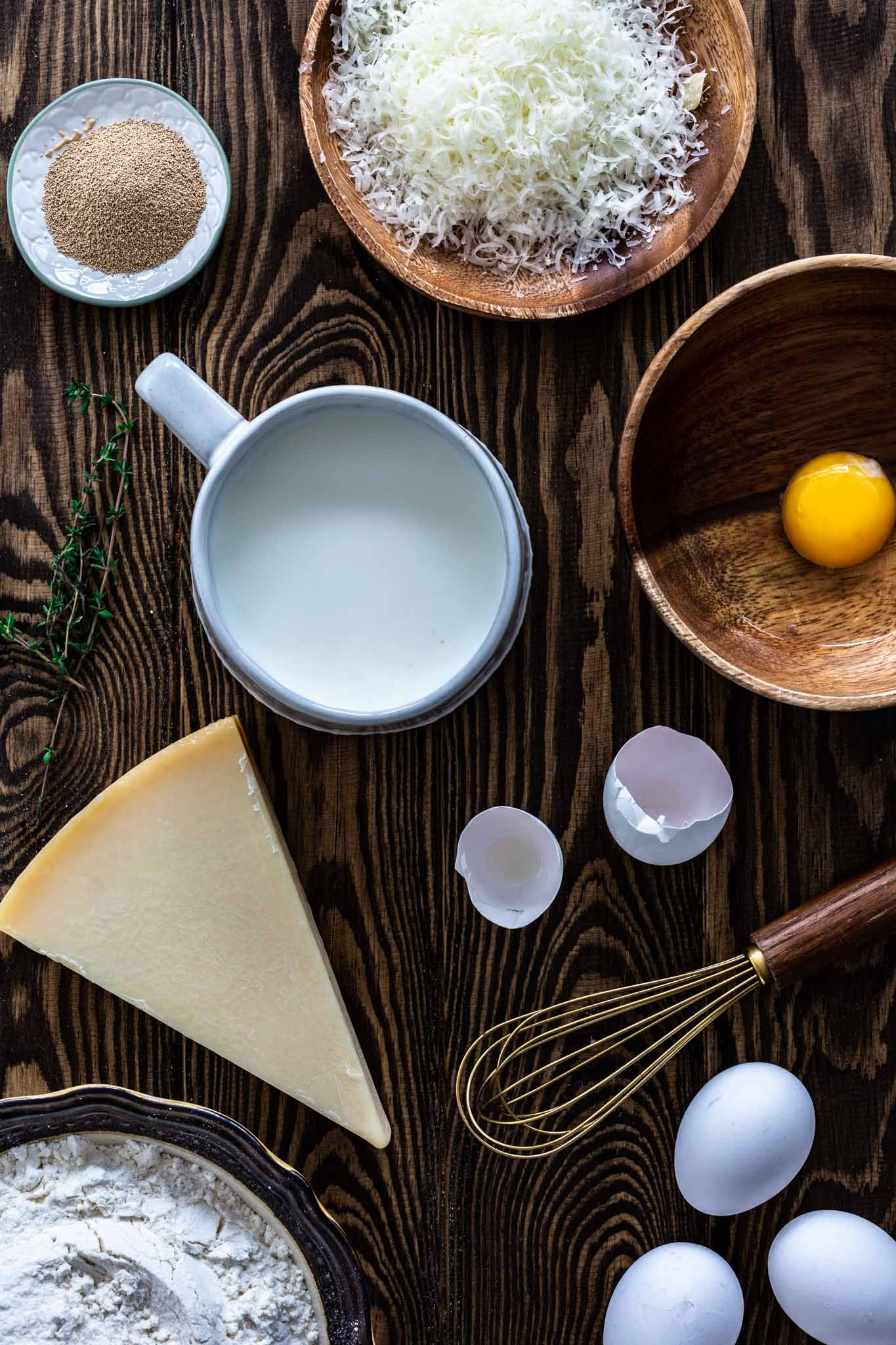 Ingredients for parmesan savory muffins