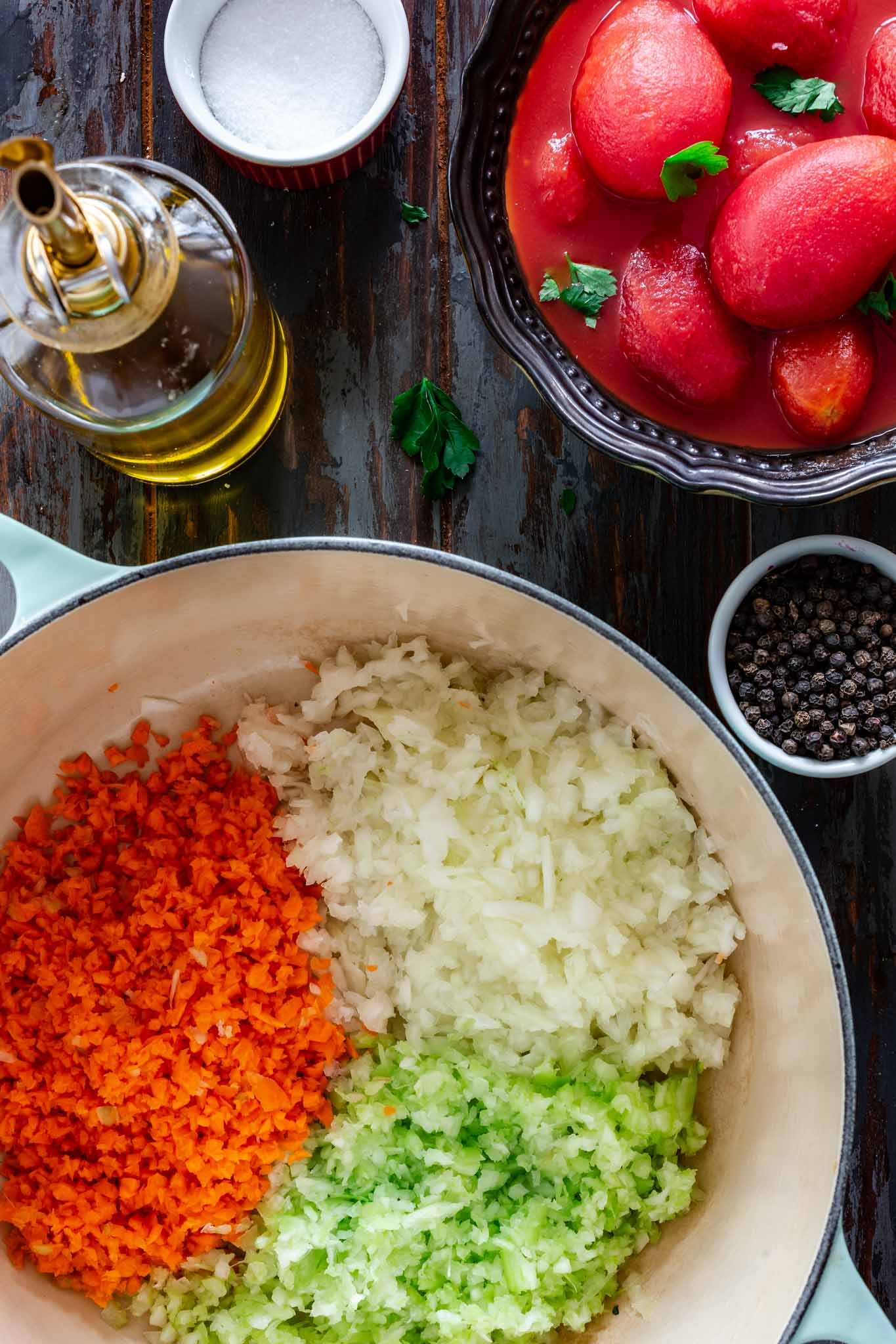 Ingredients for Italian Soffritto - carrots, onions and celery