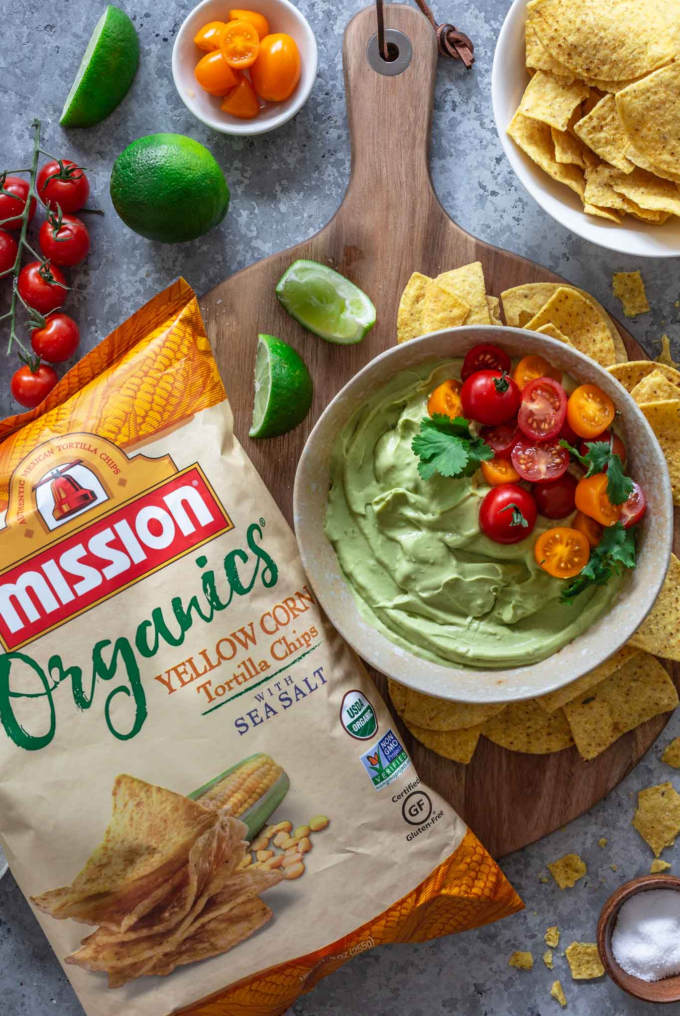Creamy avocado dip served with Mission Tortilla Chips.