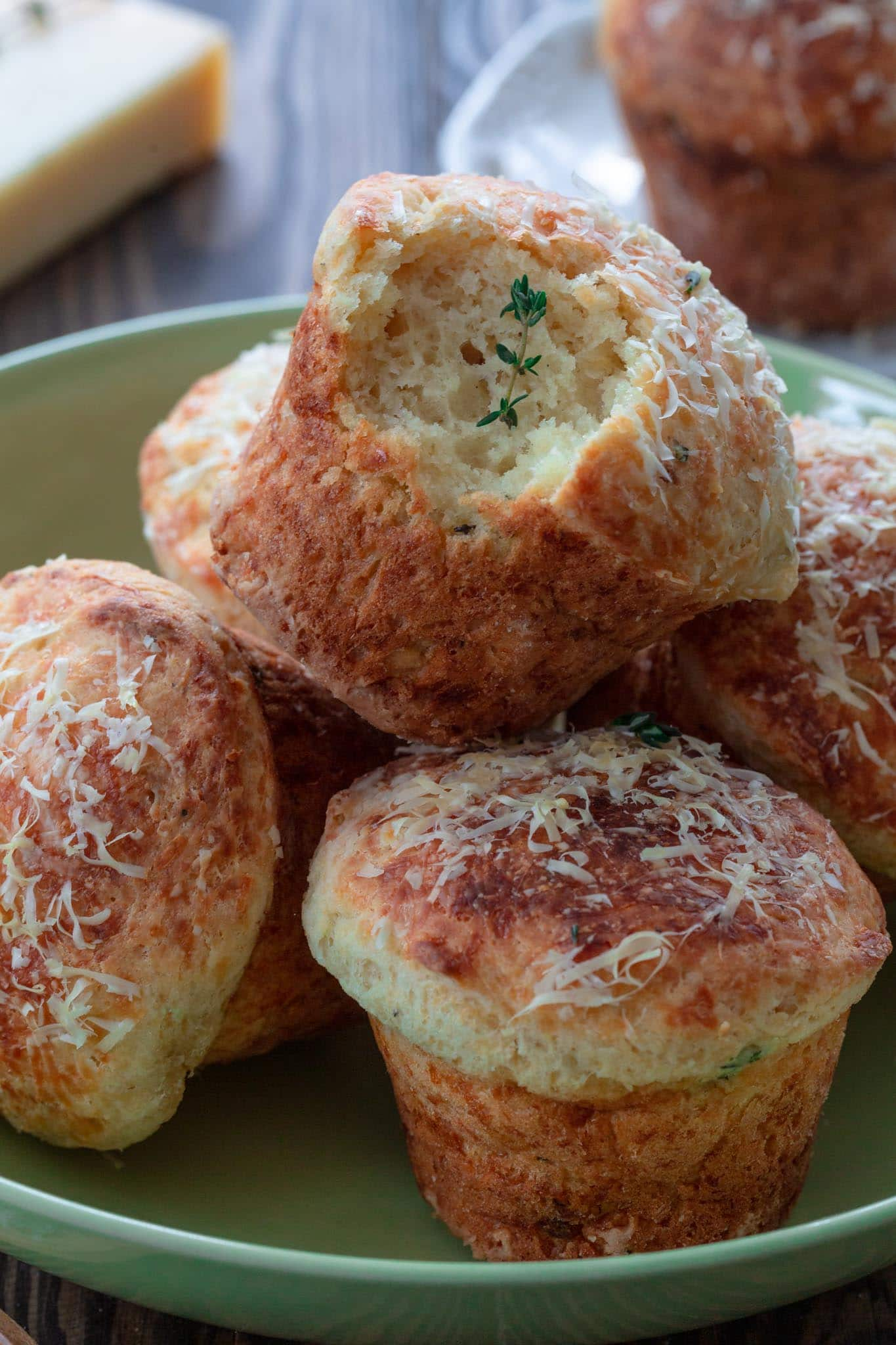 A pile of parmesan cheese muffins.
