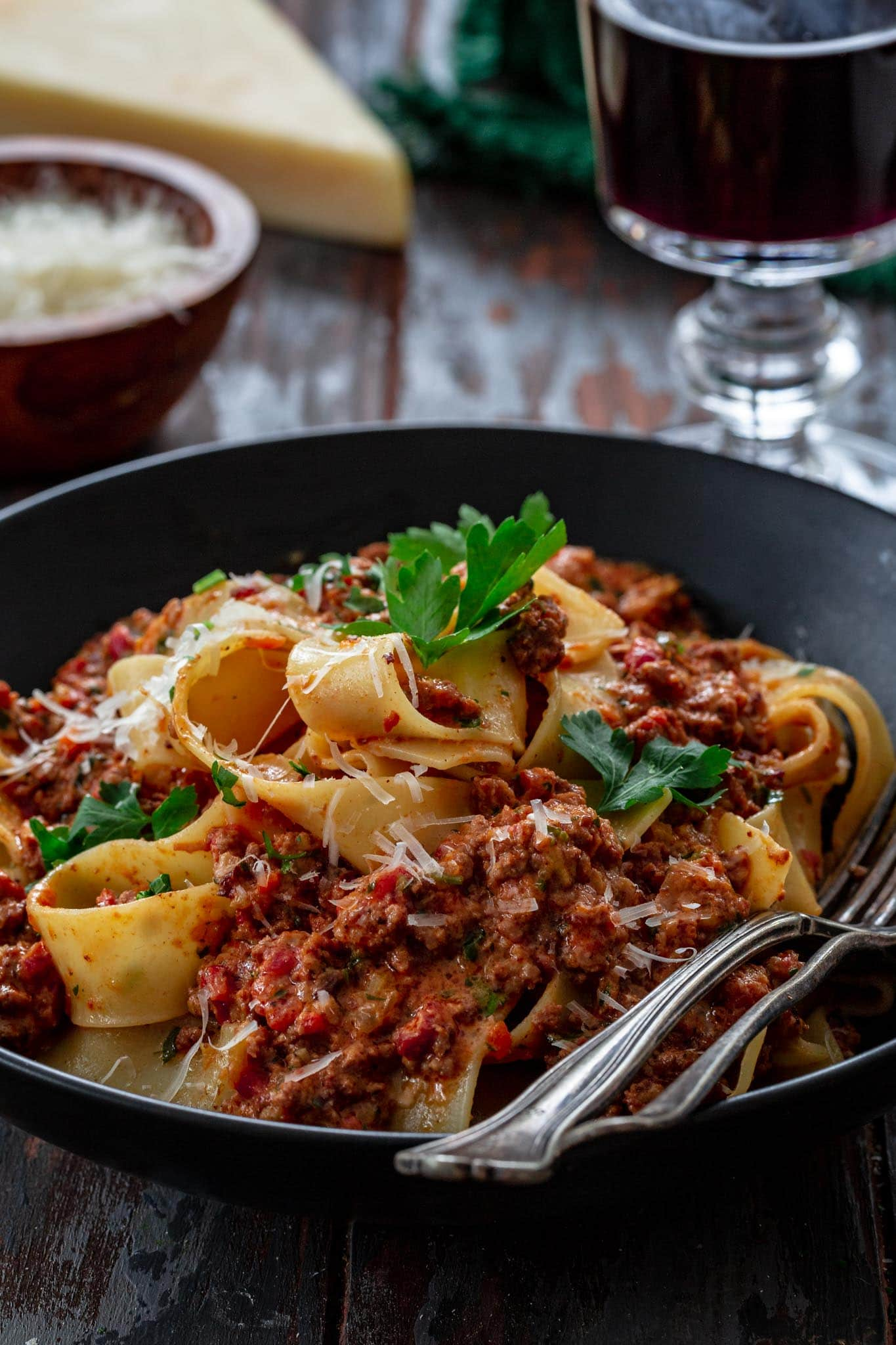 Close up of pappardelle alla bolognese