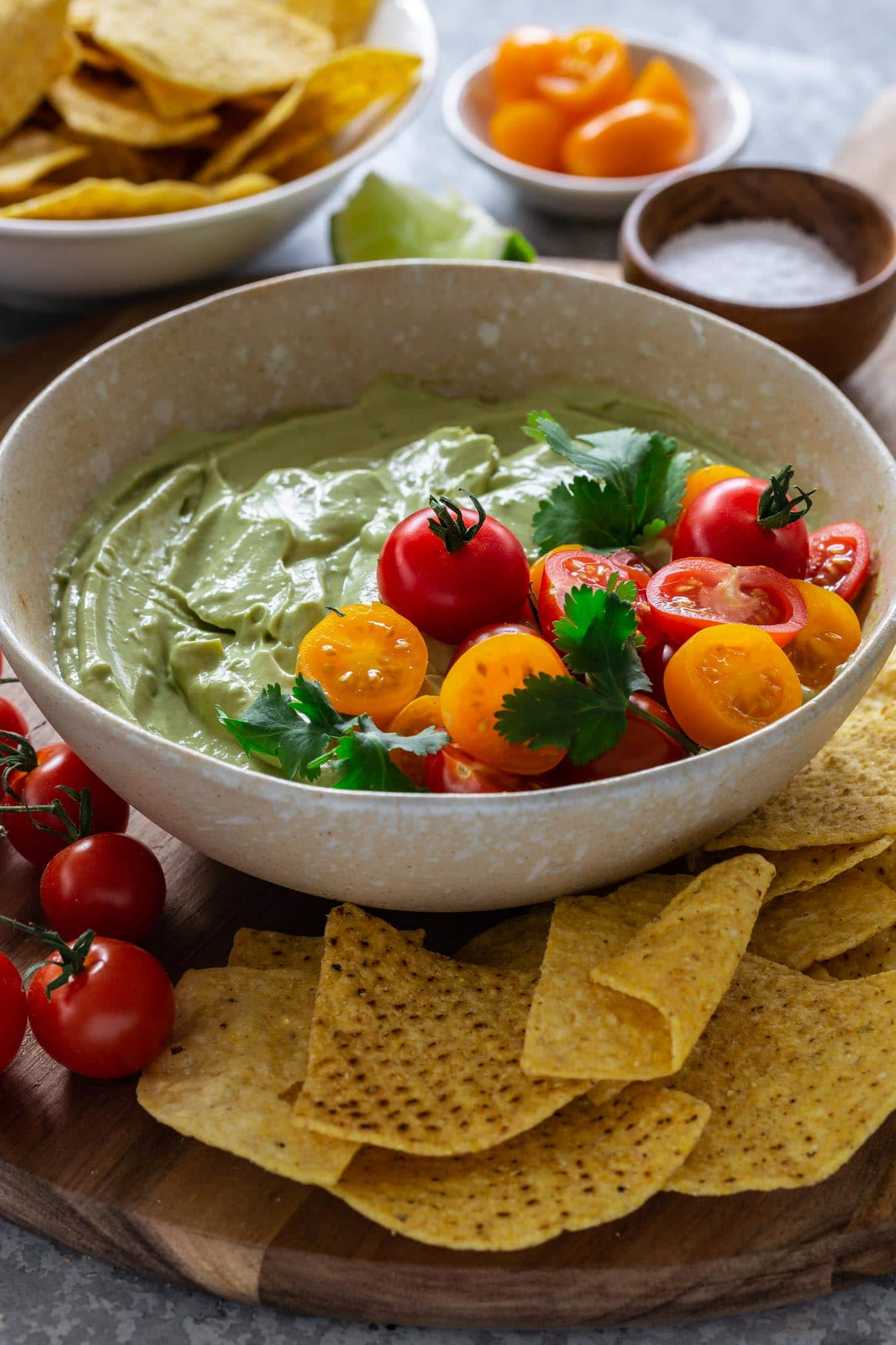 A bowl of creamy whipped avocado dip.