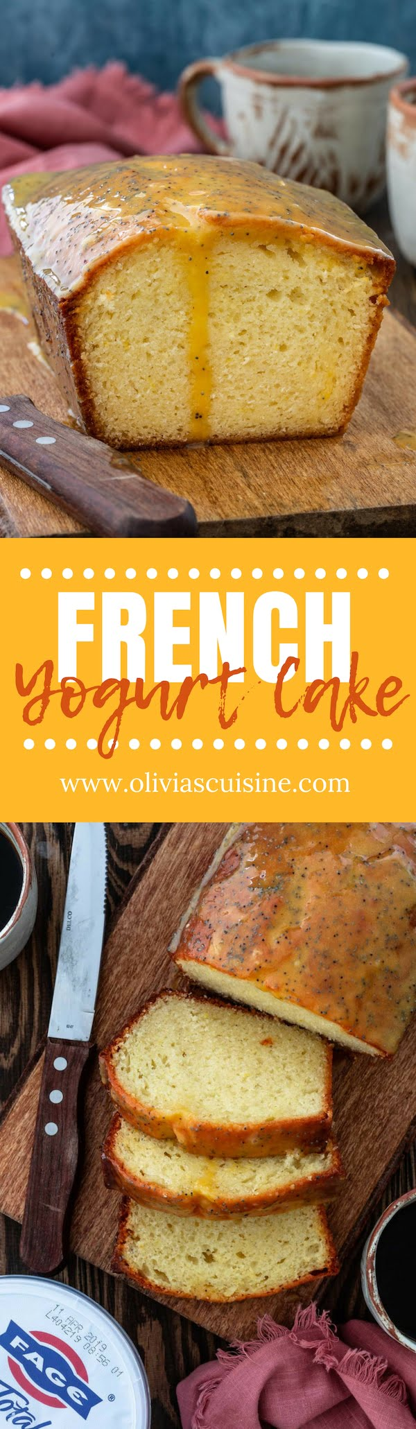 French Yogurt Cake   www.oliviascuisine.com   No need for a fancy pastry school degree to master this delicious French Yogurt Cake! Just like the ones the grandmas in France make: moist and fluffy, yet incredibly simple. (Recipe and food photography by @oliviascuisine.) #yogurt #cake #baking #yogurtcake