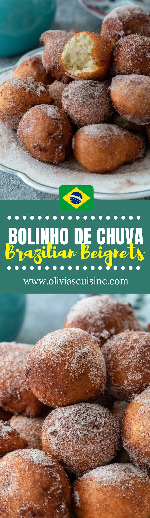 Bolinhos de Chuva (Brazilian Raindrop Beignets) | www.oliviascuisine.com | Bolinhos de Chuva are the Brazilian equivalent of Beignets: deep fried dough sprinkled with cinnamon and sugar. Named for their raindrop shape, they are impossible to resist! (Recipe and food photography by @oliviascuisine.) #beignets #brazilianfood #snacks #sweettreats