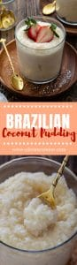 A collage of Brazilian coconut pudding photos.