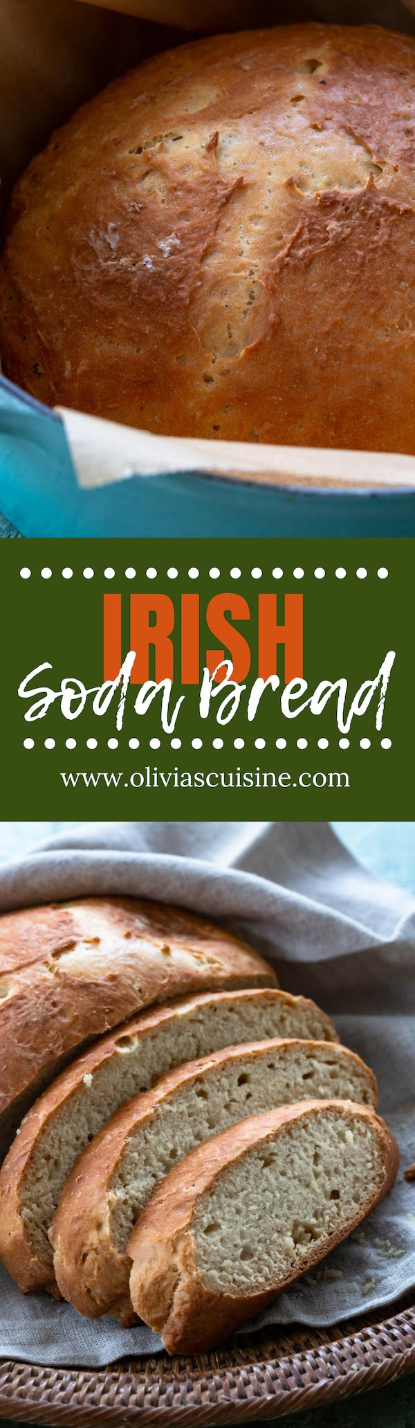 Irish Soda Bread | www.oliviascuisine.com | Even if you're not Irish, this soda bread recipe is one you'll want to have in your repertoire. Easy, requires no kneading and tastes great, especially while still warm with a slab of butter! (Recipe and food photography by @oliviascuisine). #sodabread #bread #baking #irish