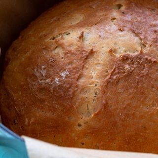 Irish soda bread baked in a dutch oven.